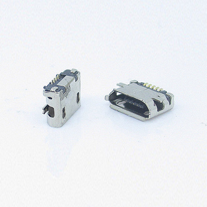 MICRO USB SMT 5P 母座 四脚全贴 直边 有柱有焊盘